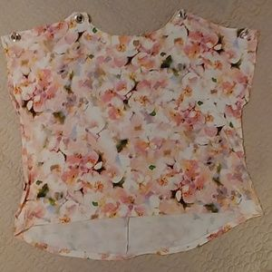 Floral print pretty in pink blouse
